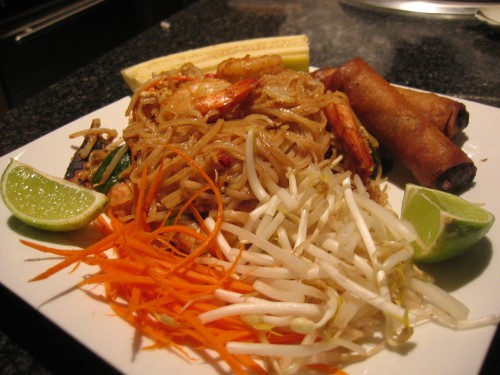 Plated pad thai dish