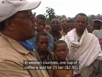 Tadesse Meskela explaining the price of coffee to his union farmers.