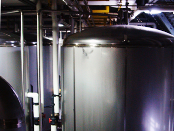The endless line of fermentation tanks